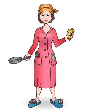 House women with tool. Hand draw illustration. Vector