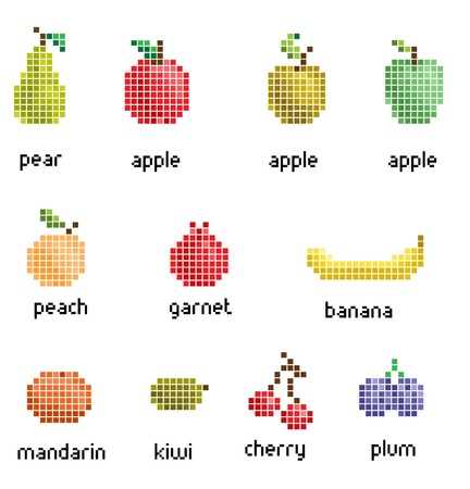 pixel fruit collection retro Vector