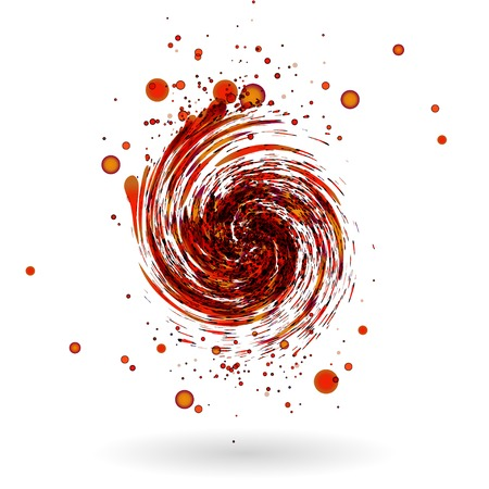 whirlwind: Red waves  on white background  Illustration