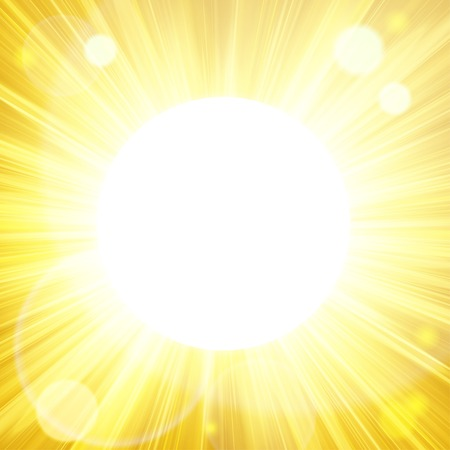 Summer background with sun burst with lens flare. Space for your text. Vector