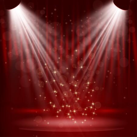 rideau sc�ne: Projecteur sur le rideau de sc�ne avec des stars. Vector. Illustration
