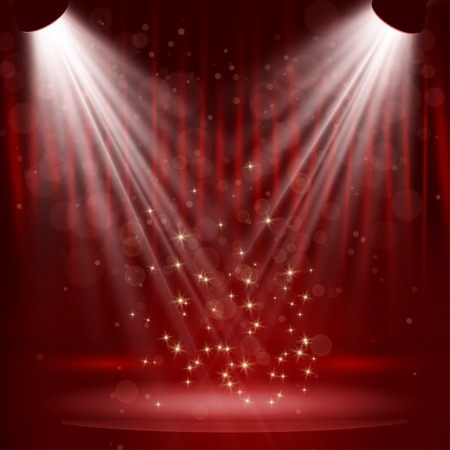 comedy show: Spotlight on stage curtain with stars. Vector.