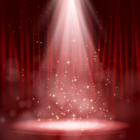 Empty stage lit with lights on red background Vector illustration. EPS 10