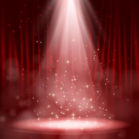 Lege podium verlicht met lichten op rode achtergrond Vector illustratie. EPS-10
