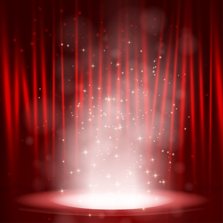 Smoke on the stage with red background. Vector illustration Stock Illustratie
