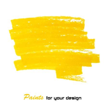 Bright yellow brush stroke hand painted background Illustration
