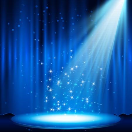 blue Stage with spotlight illustration