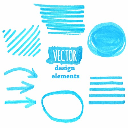 A set of  blue grunge strokes Vector