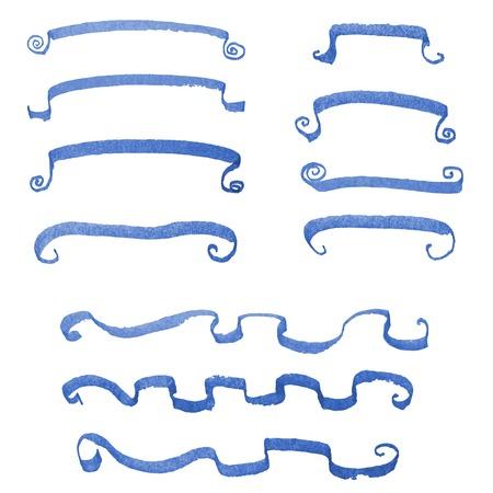 A set of  blue grunge strokes Vector