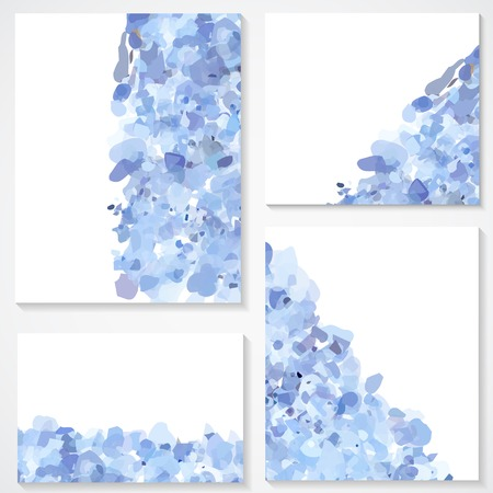 set of four banners, abstract headers with blue blots Illustration