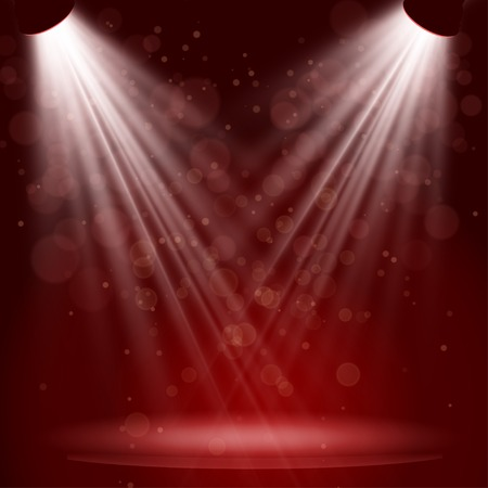 Empty stage with lights on red background  Ilustracja