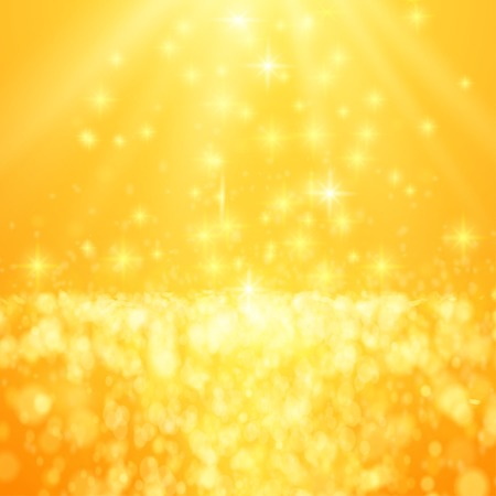gleam: Lights on yellow background bokeh effect. Vector EPS 10
