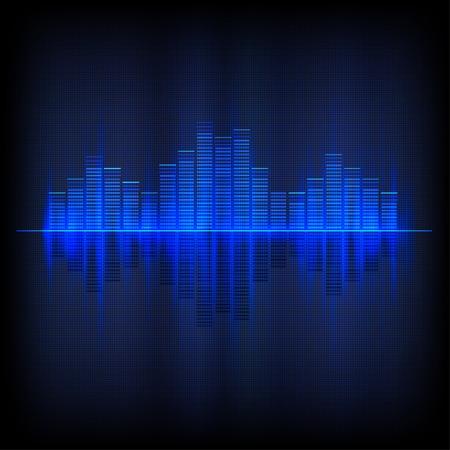 Digitale blauw licht Equalizer achtergrond. Vector illustratie