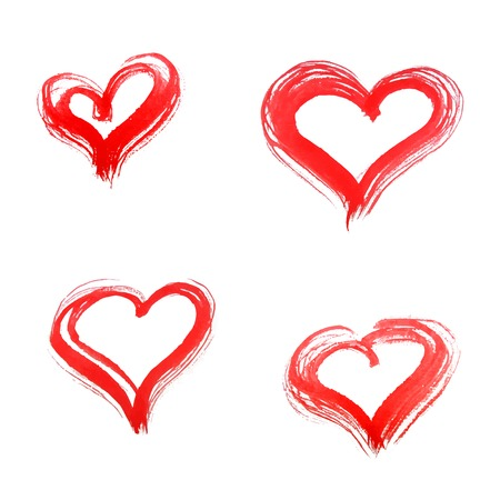 Set of watercolor hearts. Vector illustration eps10