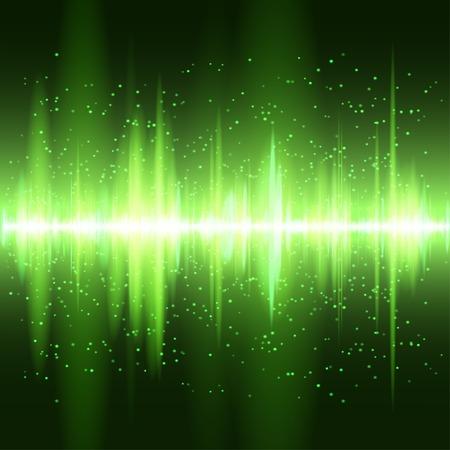 디지털 녹색 빛 이퀄라이저 배경입니다.