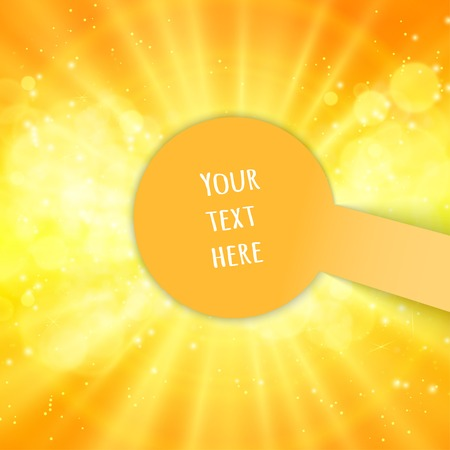 Shiny sun, sunbeams, sunrays, bokeh and space for your text