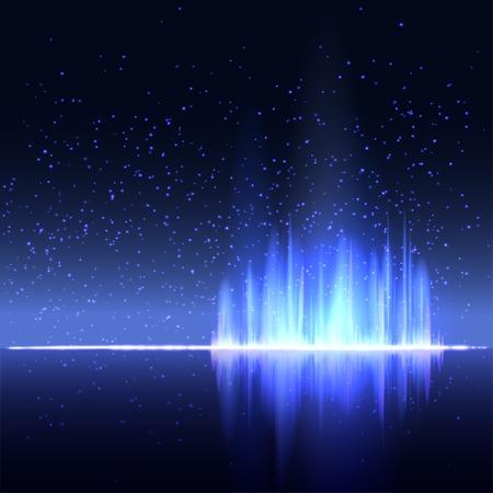 Digital blue light Equalizer background. Vector illustration  イラスト・ベクター素材
