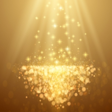 festive: Lights on yellow background bokeh effect. Vector EPS 10