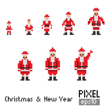 Pixel Santa with blue horse on  white Vector
