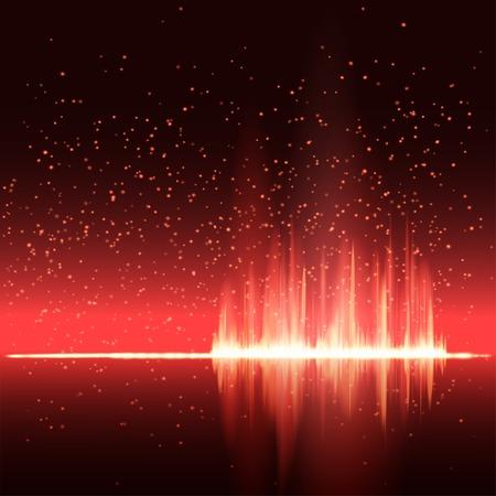 디지털 붉은 빛 이퀄라이저 배경. 벡터 일러스트 레이 션