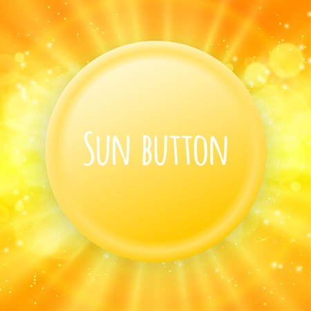 rise and shine: Shiny sun button vector for your text eps 10