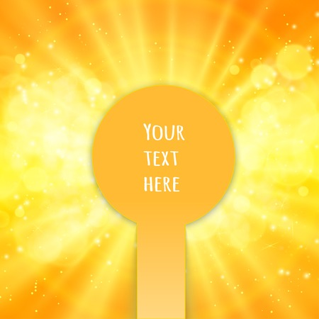 sunrays: Shiny sun vector, sunbeams, sunrays, bokeh and space for your text