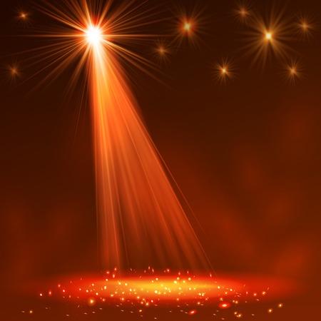 Pleins feux sur scène avec de la fumée et de la lumière. Vector illustration. Banque d'images - 34297317