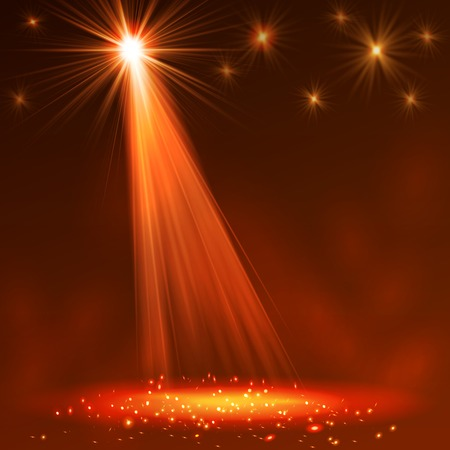 Spotlight on stage with smoke and  light. Vector illustration. Illustration