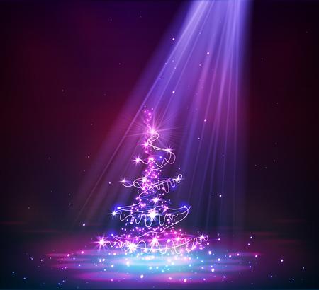 빛 벡터 배경에서 크리스마스 트리 일러스트