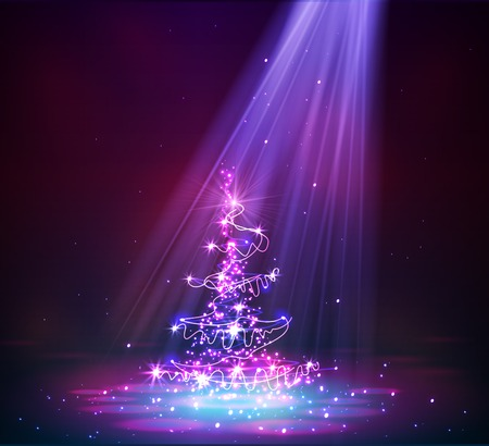 Christmas tree from light vector background