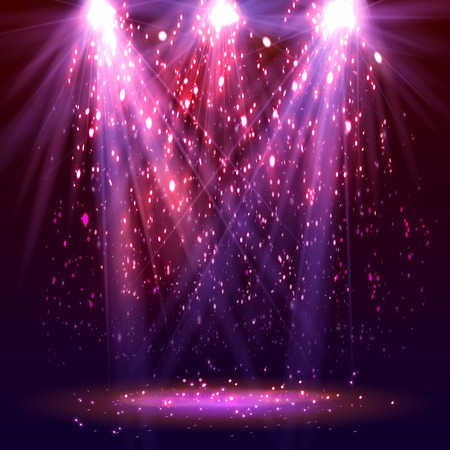 Stage spotlights and sparkles. Vector illustration