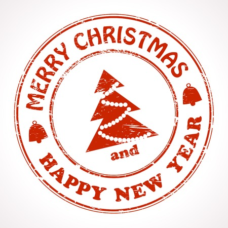 finished: Isolated stamp Christmas and New Year greeting Illustration