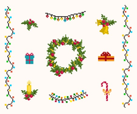 christmas garland: Christmas pixel  icons set vector and raster
