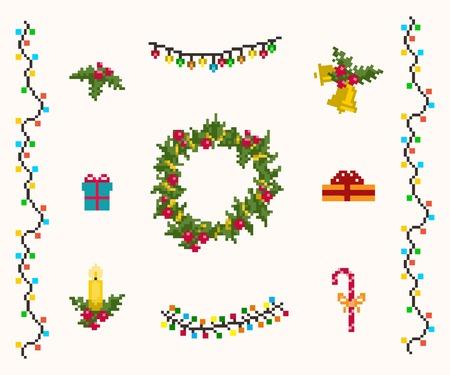 campanas navidad: Iconos de p�xeles de la Navidad fijado vectorial y raster