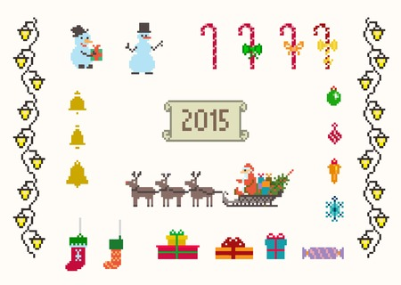 set of pixel art for christmas and new year vector and raster Vector