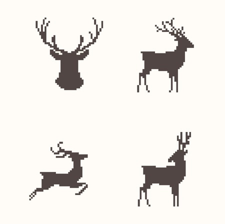 Set of silhouette images deer in different poses Vector