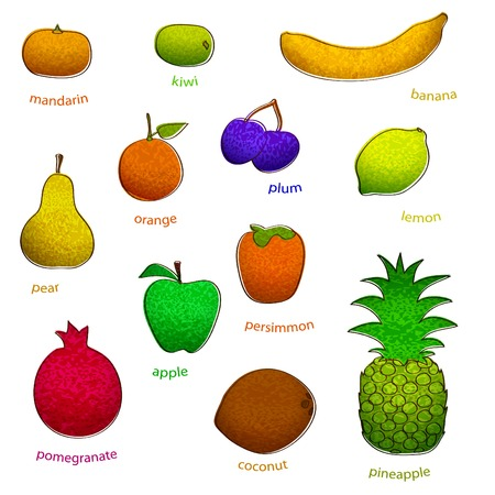 drow: fruit set with texture  simple (vector eps 10) Illustration