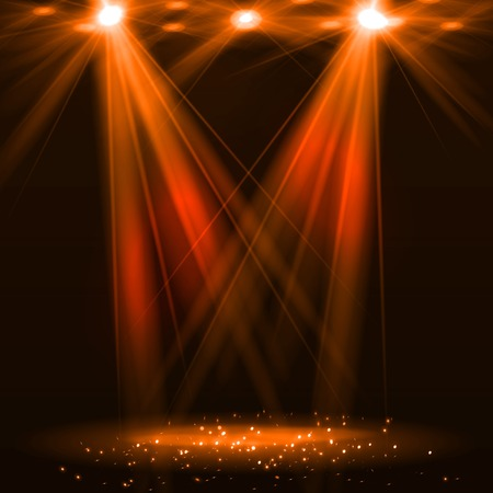 Spotlight on stage with smoke and light. Vector illustration. Ilustração