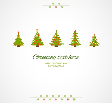 firtrees: Fir-trees winter retro background. Vector illustration.