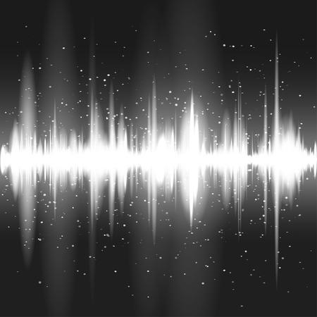 Digital green light Equalizer background. Vector illustration Çizim