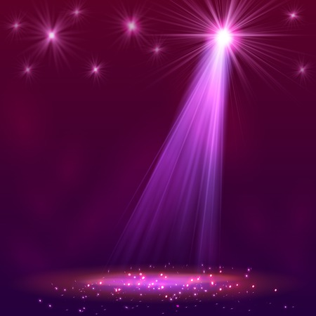 Spotlight on stage with smoke and   light. Vector illustration. Vectores