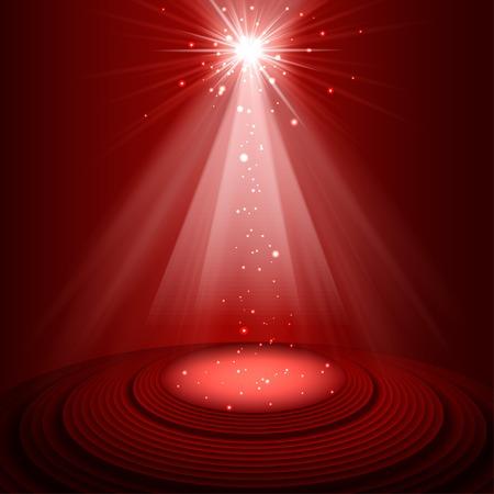 Spotlight red on stage. vector 일러스트
