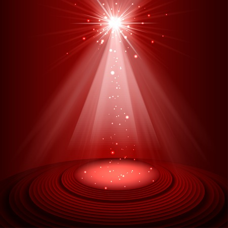 Spotlight red on stage. vector Ilustrace