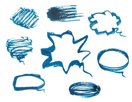 halfone: set of speech bubbles, circle & grunge border design element.