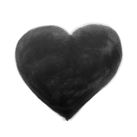 unusual valentine: Hand-drawn painted black heart, vector element for your design Illustration