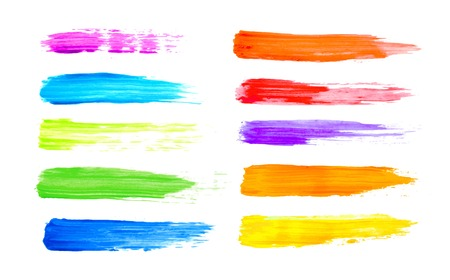 Colorful watercolor brush strokes Realistic vector graphics. Ilustração