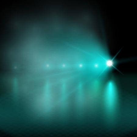 Lichtshow. groen Vector illustratie. Stock Illustratie
