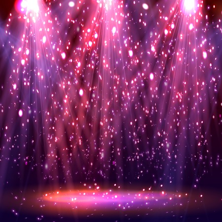 Stage spotlights. abstract festive background with bokeh defocused lights. Vector Ilustração