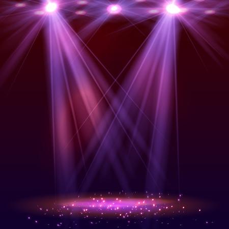 Spotlight op het toneel met rook en licht. Vector illustratie.