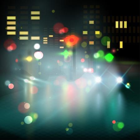 blured lighhts in city night. Vector illustration Illustration